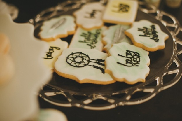 Cookies at a Dreamcatcher Baby Shower l KarasPartyIdeas.com #babyshower #bohemian #partyideas #dreamcatcher #boho #cookies