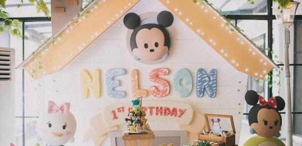 Backdrop from a Baby Mickey Themed Birthday Party via Kara's Party Ideas | KarasPartyIdeas.com (2)