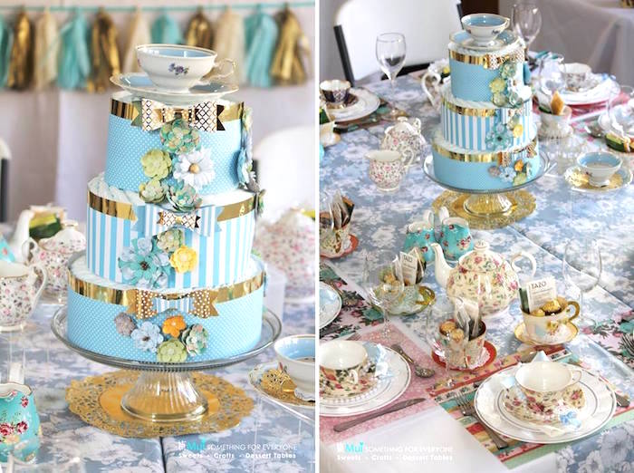 Diaper Cake Tea Tablescape From A Baby Shower Party Via Karas Ideas