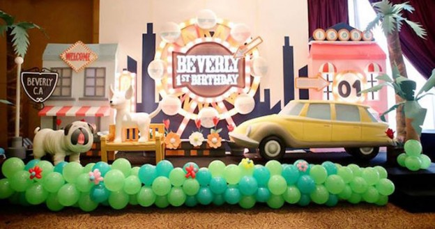 Party Backdrop from a Beverly Hills Rodeo Drive Birthday Party via Kara's Party Ideas | KarasPartyIdeas.com (2)