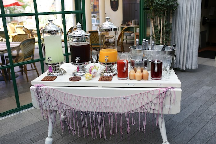 Drink/Mimosa Bar From A Bohemian Greenhouse Baby Shower Via Karau0027s Party  Ideas KarasPartyIdeas.