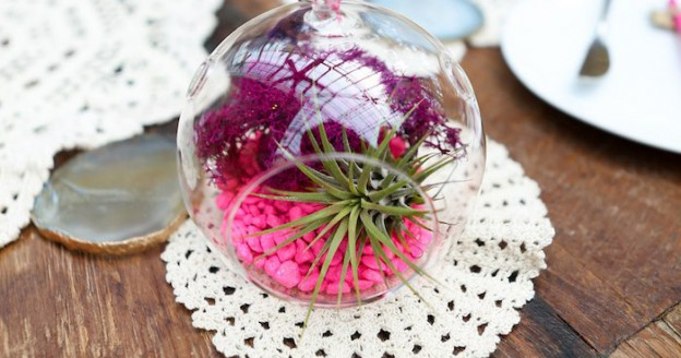Mini Terrarium Centerpiece from a Bohemian Greenhouse Baby Shower via Kara's Party Ideas KarasPartyIdeas.com (1)