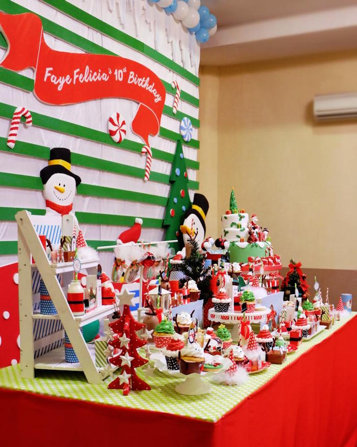 Marvelous Christmas Themed Party Ideas Part - 7: Christmas Themed Table Topics : Kara S Party Ideas Side View Of A Sweet  Table From