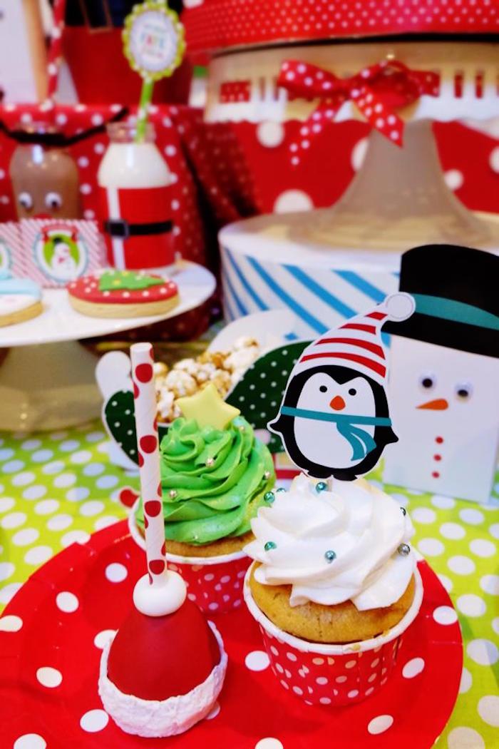 kara u0026 39 s party ideas cupcakes   cake pop from a christmas themed 10th birthday party via kara u0026 39 s