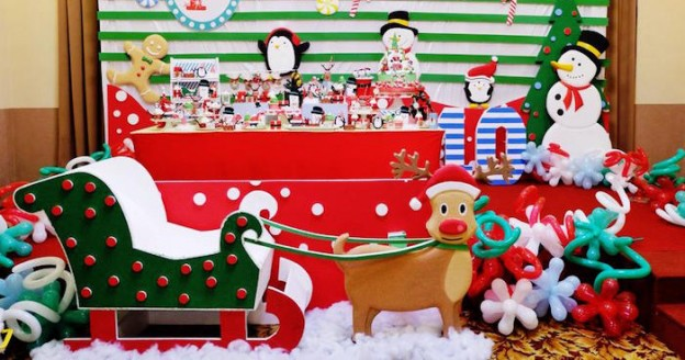 Party Setup from a Christmas Themed 10th Birthday Party via Kara's Party Ideas! KarasPartyIdeas.com (2)