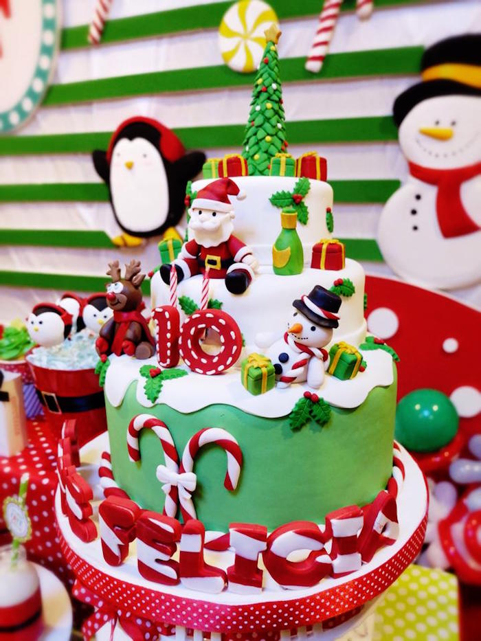 Christmas Themed Party Ideas Part - 26: Karau0027s Party Ideas Cake From A Christmas Themed 10th Birthday .
