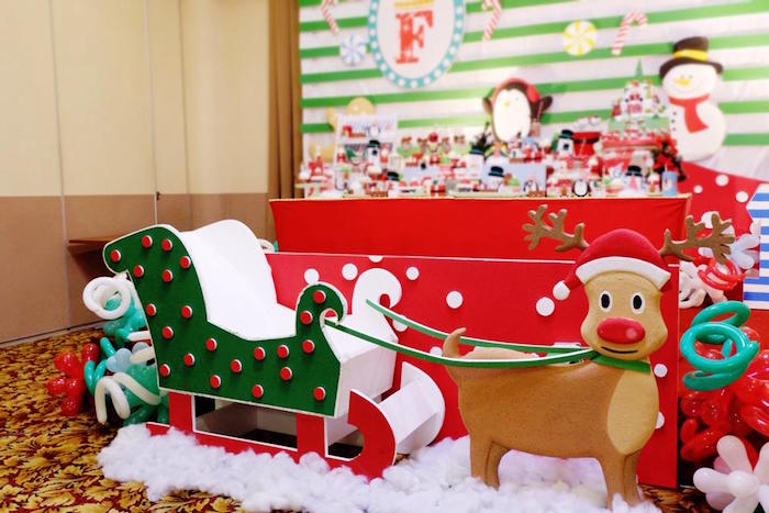 Christmas Themed Birthday Party Ideas Part - 18: Christmas Themed Birthday Party : Kara S Party Ideas Rudolph Pulling Santa  Sled From A