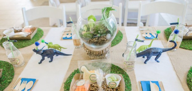 Dining Tablescape from a Dinosaur Excavation Birthday Party via Kara's Party Ideas | KarasPartyIdeas.com (1)