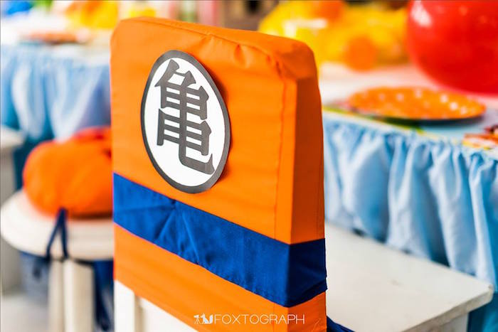 Dragon Ball Party Decorations Interesting Kara's Party Ideas » Chair Cover From A Dragon Ball Themed Decorating Design