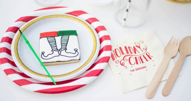 Cookie Painting from an Elf Themed Holiday Christmas Party via Kara's Party Ideas | KarasPartyIdeas.com (2)