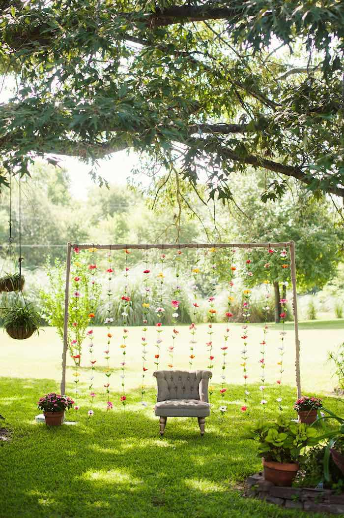 Karas Party Ideas Photo Backdrop from a First Birthday Garden