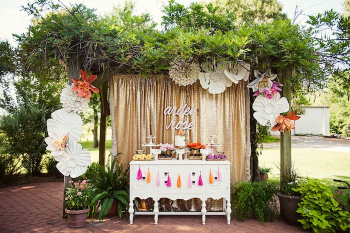 Karas Party Ideas Sweet Table from a First Birthday Garden Party