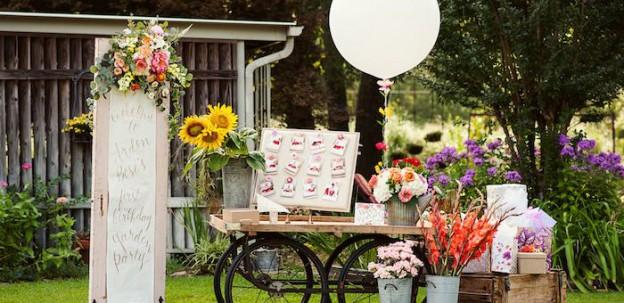 Welcome Table/Cart from a First Birthday Garden Party via Kara's Party Ideas   KarasPartyIdeas.com (2)