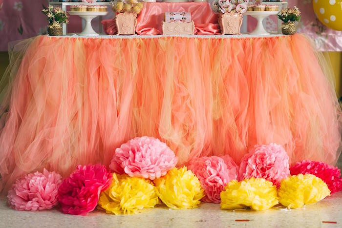 tulle table skirt pom pom decorations from a girly minion birthday party via karas party