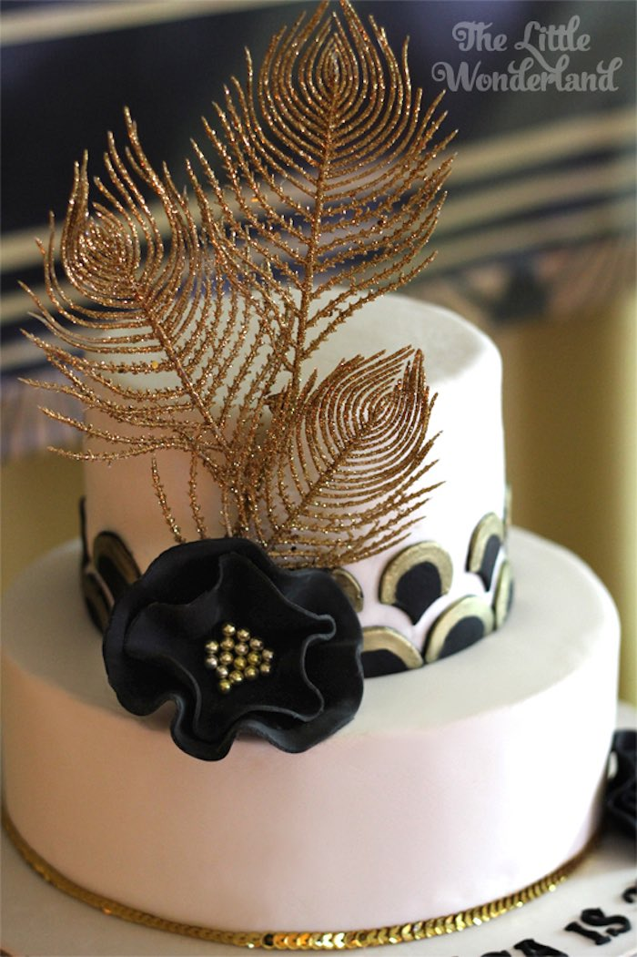 Karas Party Ideas Cake from a Great Gatsby Birthday Party via
