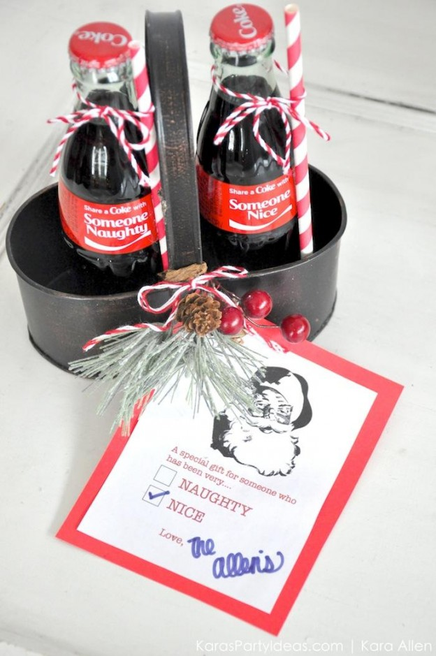 Holiday Christmas neighbor gifts | naughty or nice | Coca Cola bottles | by Kara's Party Ideas | Kara Allne 1