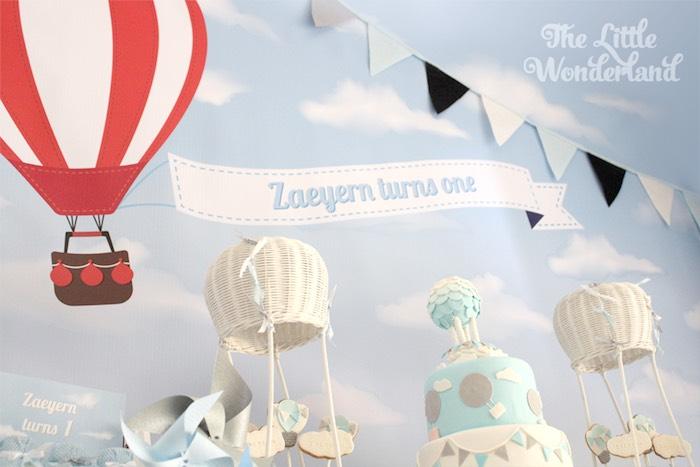 Karas Party Ideas Sweet Table Backdrop from a Hot Air Balloon