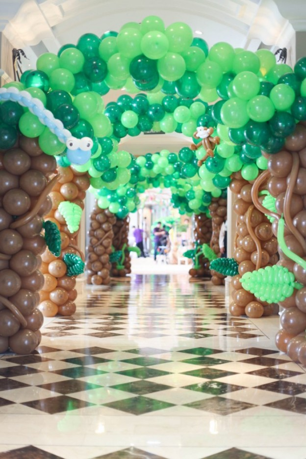 Balloon Tree Entrance from a Jungle Animals Birthday Party via Kara's Party Ideas KarasPartyIdeas.com (28)