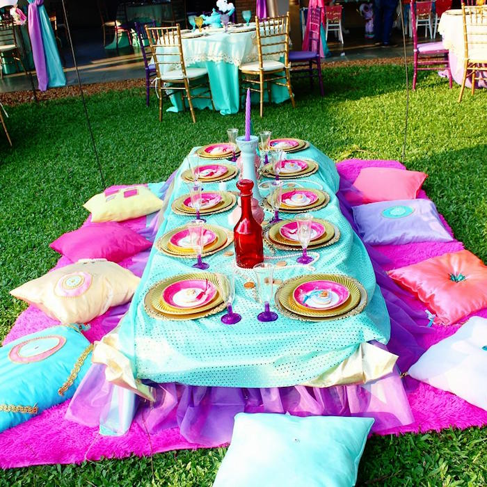 Kids Dining Table From A Princess Jasmine Birthday Party Via Karas Ideas