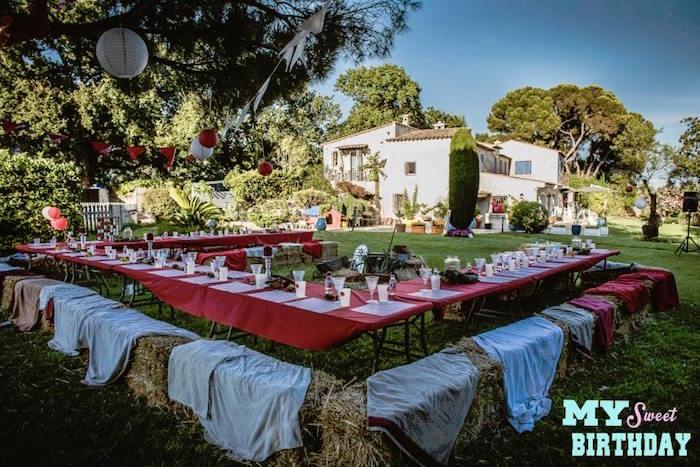 Karas Party Ideas Partyscape from a Rustic Outdoor Farm Garden