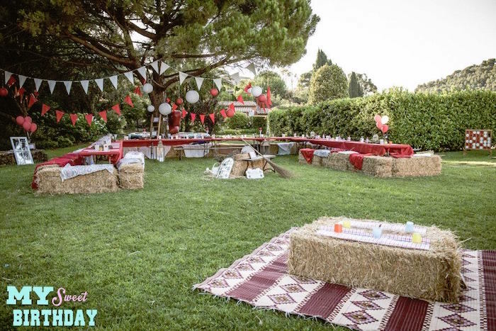 Partyscape From A Rustic Outdoor Farm Garden Party Via Karas Ideas