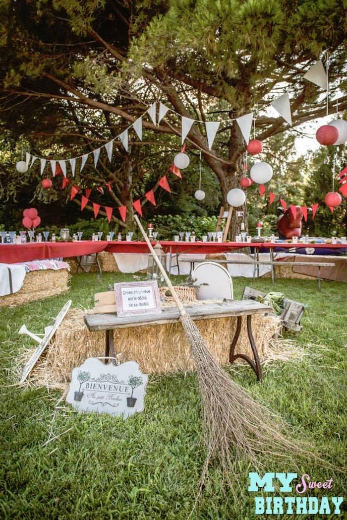 Party Setup From A Rustic Outdoor Farm Garden Via Kara S Ideas Karaspartyideas