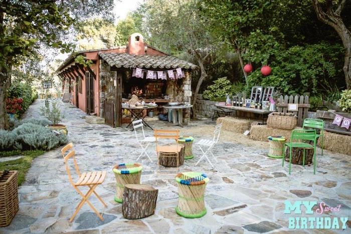 Party Setup From A Rustic Outdoor Farm Garden Via Karas Ideas