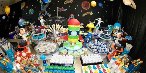 Sweet Table from a Space + Solar System Birthday Party via Kara's Party Ideas | KarasPartyIdeas.com (1)