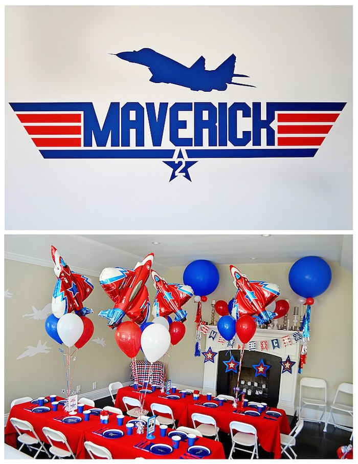 Backdrop Guest Table From A Top Gun Themed Birthday Party Via Karas Ideas