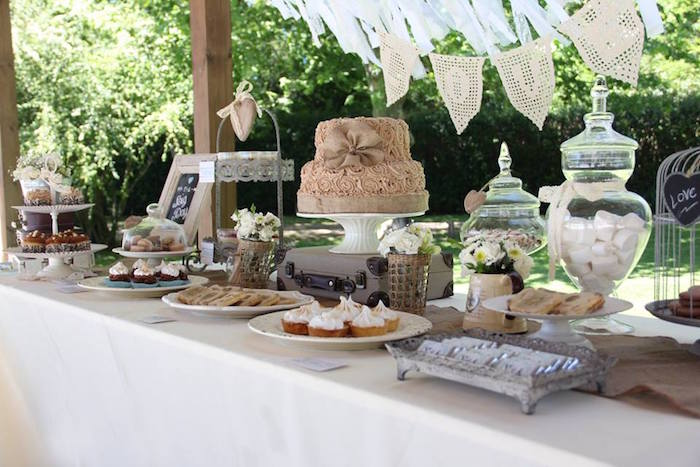 Karas Party Ideas Sweet Table from a Vintage Shabby Chic Wedding