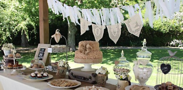 Dessert Table from a Vintage Shabby Chic Wedding via Kara's Party Ideas | KarasPartyIdeas.com (1)