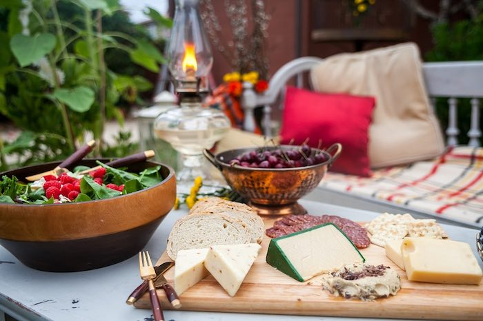 Cheese Platter Appetizers From A Backyard Vintage Girls Night Soiree Via Karas Party Ideas