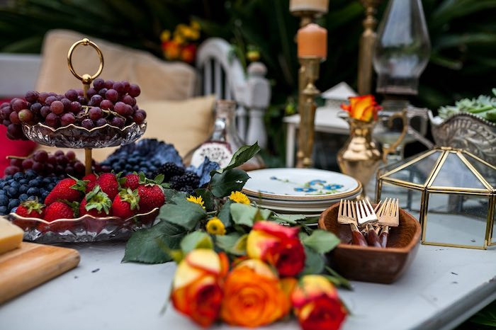 Appetizer Hors Doeuvre Table From A Backyard Vintage Girls Night Soiree Via