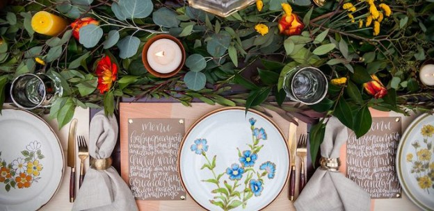 Dining Tablescape from a Backyard Vintage Girls Night Soiree via Kara's Party Ideas! KarasPartyIdeas.com (1)