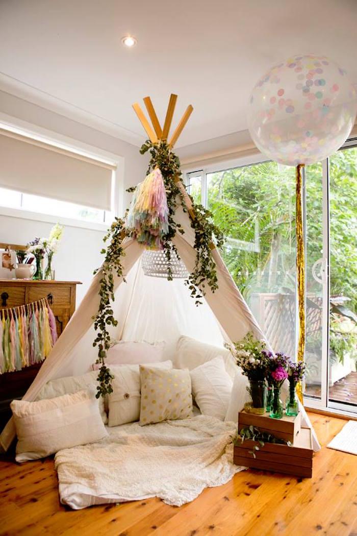 Kara S Party Ideas Teepee From A Boho Chic Baby Shower Via