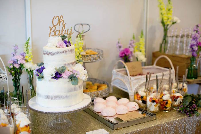 Cake Sweets From A Boho Chic Baby Shower Via Karas Party Ideas