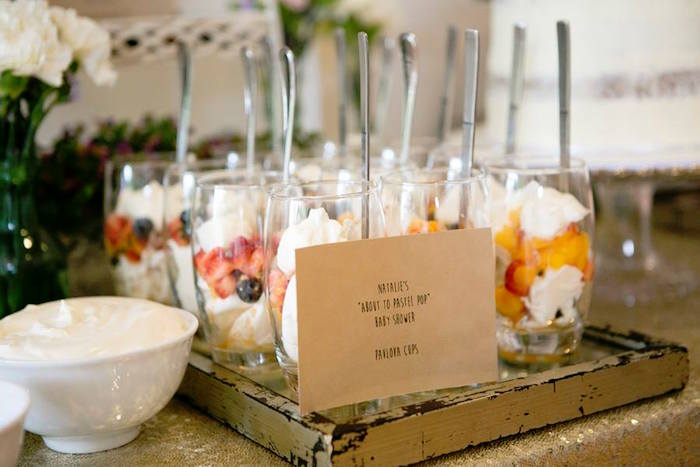 Pavlova Dessert Cups From A Boho Chic Baby Shower Via Karas Party Ideas