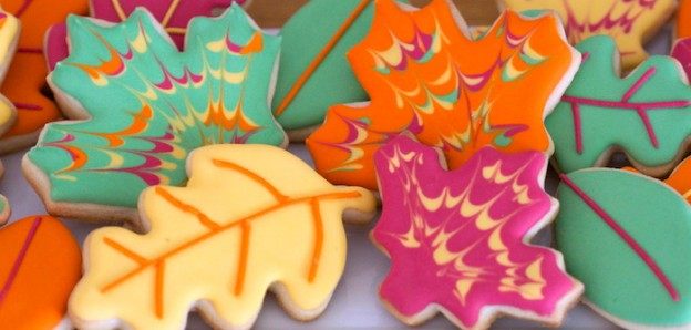 Leaf Sugar Cookies from a Colorful Woodland + Fall Leaves Birthday Party via Kara's Party Ideas KarasPartyIdeas.com (1)