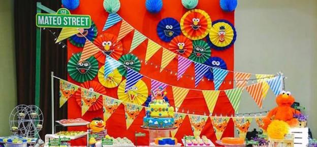 Dessert Table Backdrop From An Elmo Sesame Street Birthday Party Via Karas Ideas