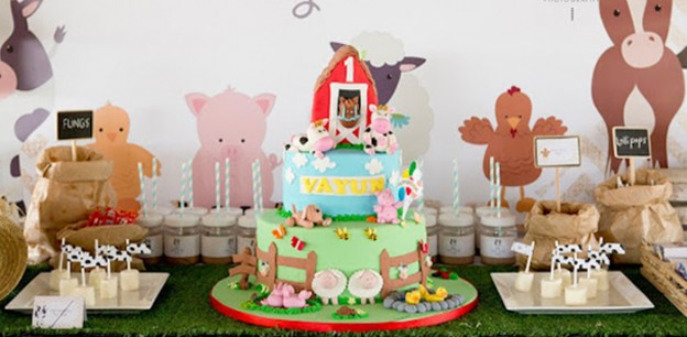 Cake Table from a Farmyard Birthday Party via Kara's Party Ideas | KarasPartyIdeas.com (1)