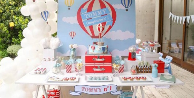 Dessert Table from a Hot Air Balloon Birthday Party via Kara's Party Ideas | KarasPartyIdeas.com (1)