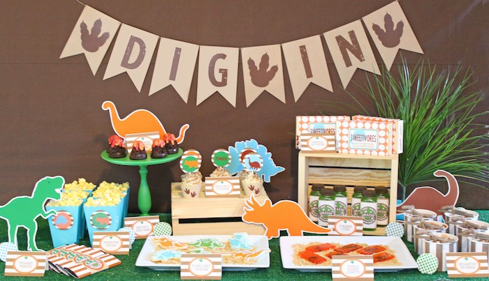 Karas Party Ideas Sweet Table from a Jurassic Dino Hunt Dinosaur