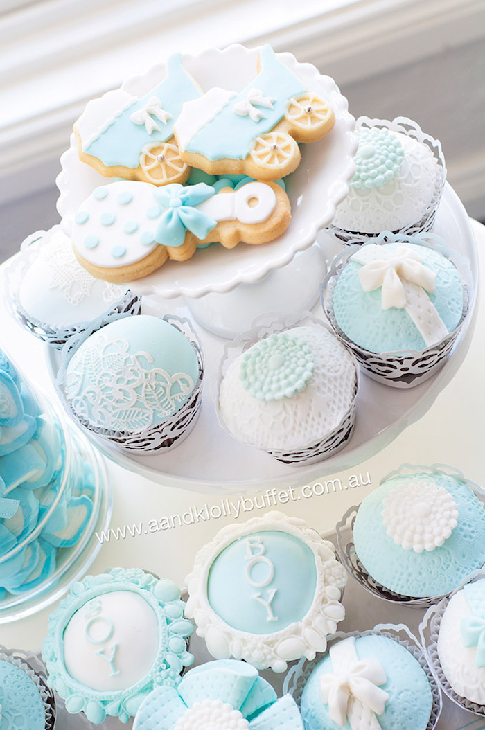 Cupcakes + Cookies From A Little Prince Baby Shower Via Karau0027s Party Ideas  | KarasPartyIdeas.