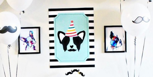 Dessert Table Backdrop from a Pupstachio Mustache Doggy Birthday Party via Kara's Party Ideas | KarasPartyIdeas.com (3)