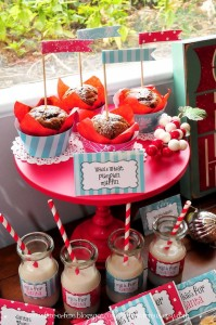 Muffins + Milk from a Retro Playful Christmas Party via Kara's Party Ideas | KarasPartyIdeas.com (8)