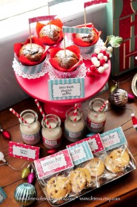 Muffins + Milk + Cookies from a Retro Playful Christmas Party via Kara's Party Ideas | KarasPartyIdeas.com (7)