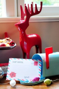 Red Reindeer + North Pole Bound Mailbox from a Retro Playful Christmas Party via Kara's Party Ideas | KarasPartyIdeas.com (5)