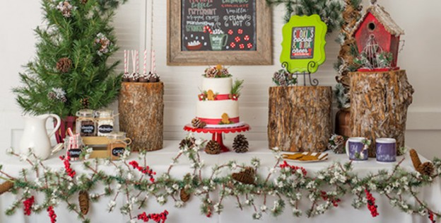 Main Table from a Rustic Glam Cookies & Cocoa Holiday Party via Kara's Party Ideas | KarasPartyIdeas.com (1)