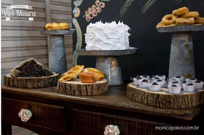 Kara's Party Ideas » Sweet Table from a Rustic Tea + Coffee Shop Birthday Party via Kara's Party ...