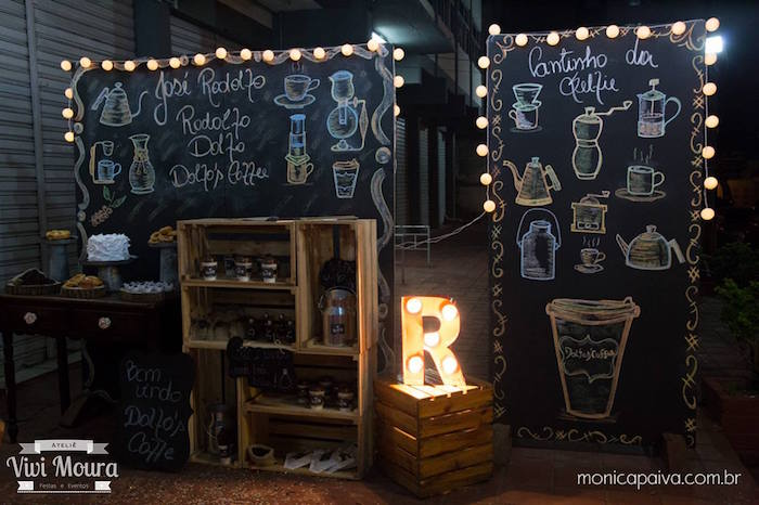 Kara 39 s party ideas party display from a rustic tea for Coffee shop display ideas